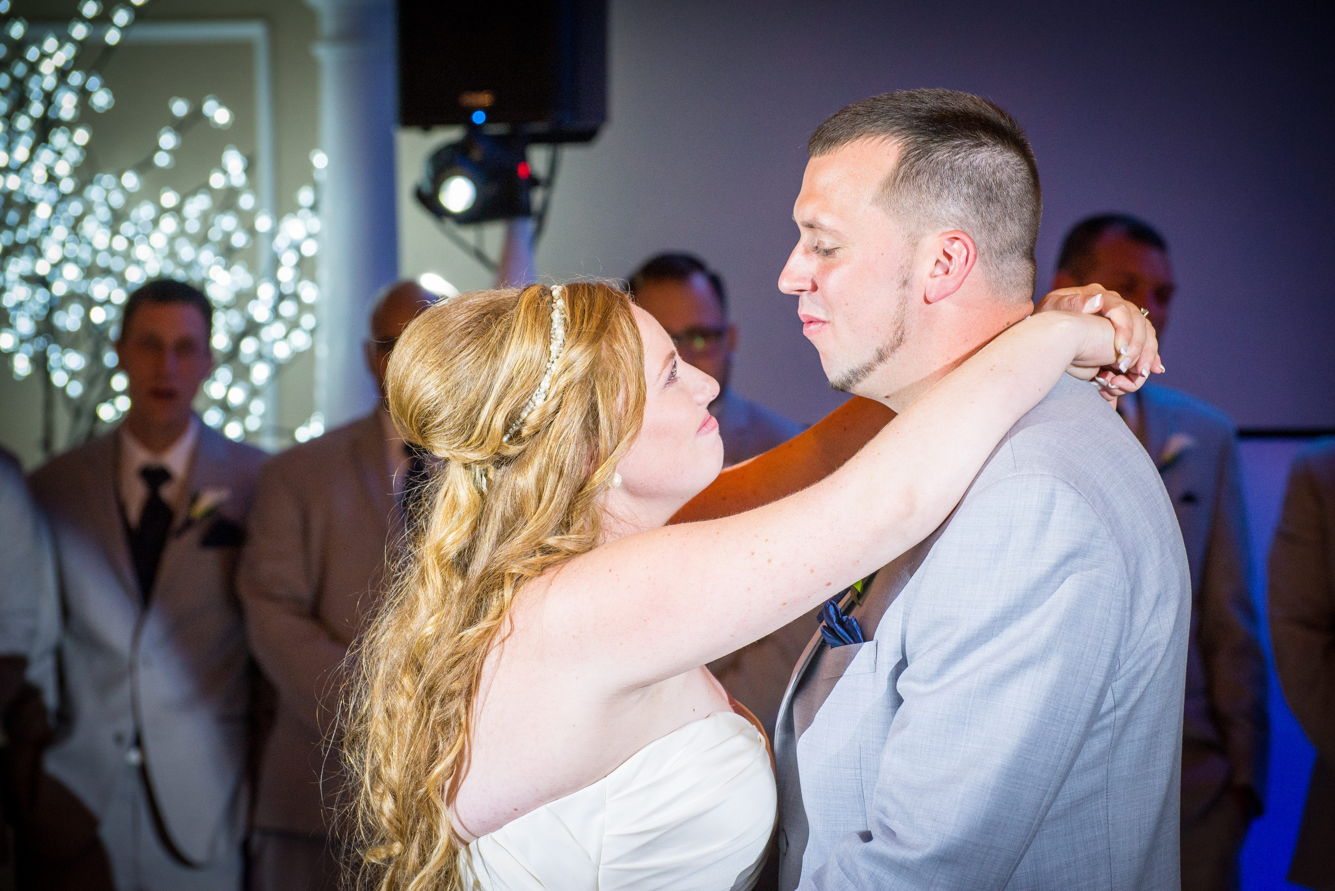 Wedding Spotlight first dance at Doolan's Shore Club in Spring Lake Nj Appalachian Entertainment dj's
